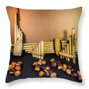 Pan Flutes And Buckeyes Throw Pillow