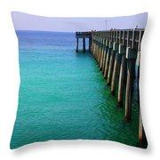 Panama City Beach Pier Throw Pillow by Toni Hopper