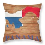 Panama Rustic Map On Wood Throw Pillow