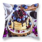 Pancakes With Chocolate Sauce Throw Pillow