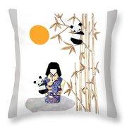 Panda Girl By Mary Ellen Palmeri Throw Pillow