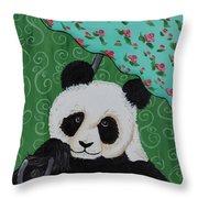 Panda In The Rain Throw Pillow
