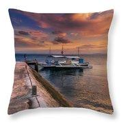 Pandanon Island Sunset Throw Pillow