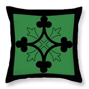 Panel - Black And Green Clover Style Greek Cross Throw Pillow