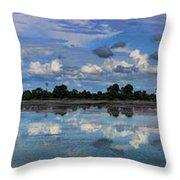 Pano Cambodia Lake  Throw Pillow