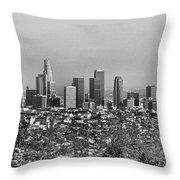 Pano Los Angeles City Black White Throw Pillow
