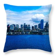 Pano Of Downtown Seatle Throw Pillow