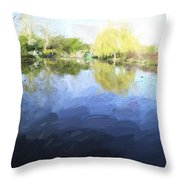 Panorama 2 Of Monets Garden In Giverny Throw Pillow