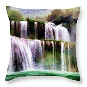 Panorama Ban Gioc Fall Vietnam  Throw Pillow