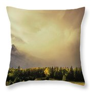 Panorama Clearing Storm Over The Grand Tetons Throw Pillow