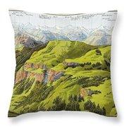Panorama Drawn From The Rigi Mountain Throw Pillow