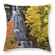 Panorama Fall Color Chapel Falls Upper Penninsula Mi Throw Pillow