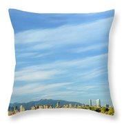 Blue Sky Over Vancouver City Skyline. Throw Pillow