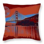 Panorama Golden Gate Bridge Landmark 2 Throw Pillow