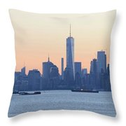 Panorama New York City Skyline At Sunrise Throw Pillow