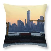 Panorama New York City Skyline With Passing Container Ship Throw Pillow