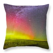 Panorama Of An Aurora And The Milky Way Throw Pillow