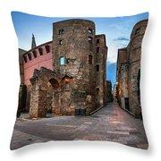 Panorama Of Ancient Roman Gate And Placa Nova In The Morning, Ba Throw Pillow