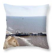 Panorama Of Blackpool Beach Throw Pillow