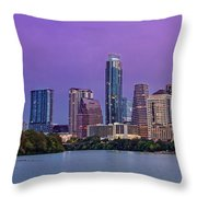 Panorama Of Downtown Austin Skyline From The Lady Bird Lake Boardwalk Trail - Texas Hill Country Throw Pillow