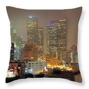 Panorama Of Downtown Los Angeles In The Fog Throw Pillow