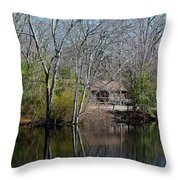 Panorama Of Lake, Trees And Cabin Throw Pillow