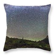 Panorama Of Milky Way Over Red Rock Throw Pillow