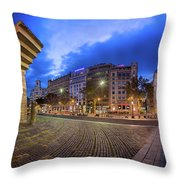 Panorama Of Placa De Catalunya In The Morning, Barcelona, Spain Throw Pillow