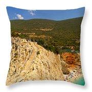 Panorama Of Porto Katsiki Famous Paradise Beach Throw Pillow