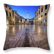 Panorama Of Stradun Street And Luza Square In Dubrovnik, Dalmati Throw Pillow