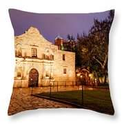 Panorama Of The Alamo In San Antonio At Dawn - San Antonio Texas Throw Pillow