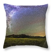 Panorama Of The Milky Way And Night Sky Throw Pillow