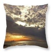 Panorama Of The Sunset In Caesarea Throw Pillow