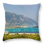 Panorama On Greek Island Throw Pillow