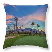 Panorama Palm Springs Golfing Throw Pillow