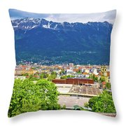 Panoramic Aerial View Of Innsbruck And Hafelekarspitze Mountain Throw Pillow