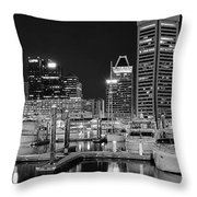 Panoramic Baltimore In Black And White Throw Pillow