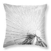 Panoramic Chicago Ferris Wheel In Black And White Throw Pillow