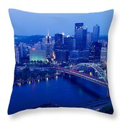 Panoramic Evening View Of Pittsburgh Throw Pillow