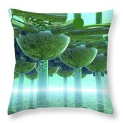 Panoramic Green City And Alien Or Future Human Throw Pillow
