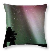 Panoramic Inukshuk Northern Lights Throw Pillow