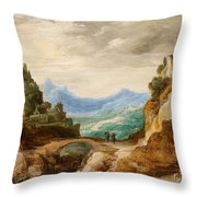 Panoramic Landscape With Travellers Throw Pillow