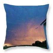 Panoramic Lightning Storm And Church Throw Pillow