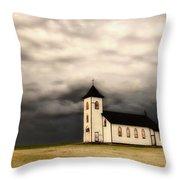 Panoramic Lightning Storm And Prairie Church Throw Pillow