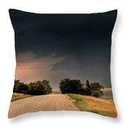Panoramic Lightning Storm In The Prairie Throw Pillow