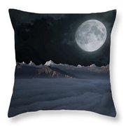 Panoramic Moonscape Throw Pillow