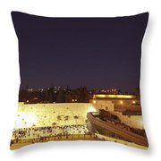 Panoramic Night View Of The Wailing Wall  Throw Pillow