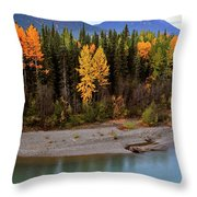 Panoramic Northern River Throw Pillow
