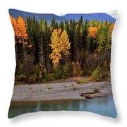 Panoramic Northern River Throw Pillow