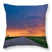 Panoramic Prairie Lightning Storm Throw Pillow